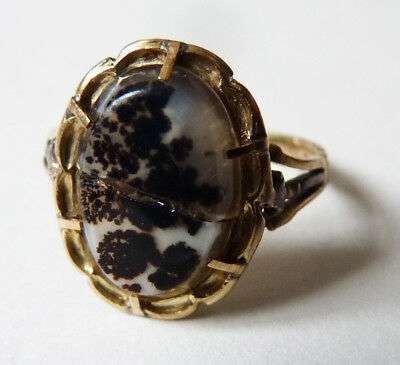 Bague OR massif 18k + agate 19e siècle gold ring