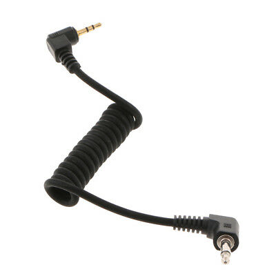2.5mm to 3.5mm Male Flash PC Sync Cable Spring Coiled Cord for DSLR Camera