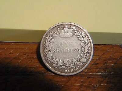 Vintage 1868 British Queen Victoria 0.925 Sterling Silver One Shilling Coin