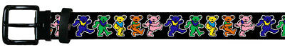 Grateful Dead Psychedelic Rock Band Rainbow Dancing Bears Leather Belt