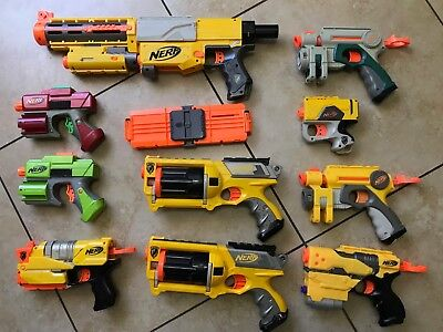 Big Lot of 10 Nerf Guns Tested - N-Strike and others w/ darts clips