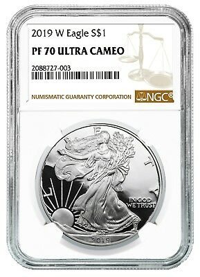 2019 W 1oz Silver Eagle Proof NGC PF70 Ultra Cameo - Brown Label