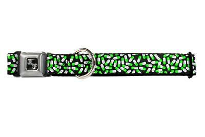 Green and White Pill Capsules All Over Fun Animal Seatbelt Pet Collar