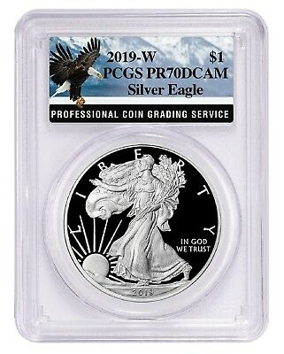2019 W 1oz Silver Eagle Proof PCGS PR70 DCAM - Eagle Label