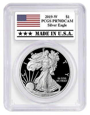 2019 W 1oz Silver Eagle Proof PCGS PR70 DCAM - Made In USA Label