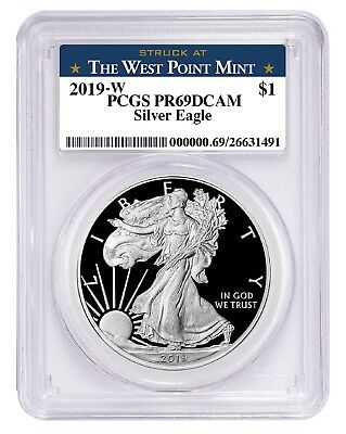 2019 W 1oz Silver Eagle Proof PCGS PR69 DCAM - West Point Label