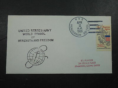 Vintage 1969 United States Navy Uss Henderson Dd-785 Destroyer Stamped Envelope