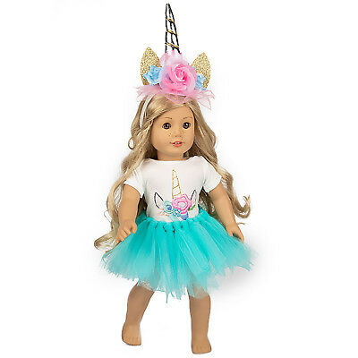 Unicorn Doll Clothes Blue Dress Tulle Outfits For America 16- 18 inch Girl Accs