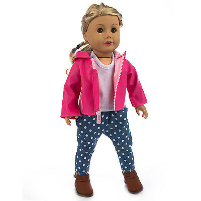 Doll Clothes Pink Leather Coat Pant Shirt Outfits For America 18 inch Girl Doll