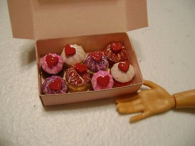 Barbie Dollhouse Food Valentine Assorted Cupcakes Handcrafted with a box  NEW