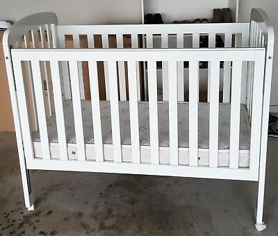 Baby cot and mattress, white, very good condition