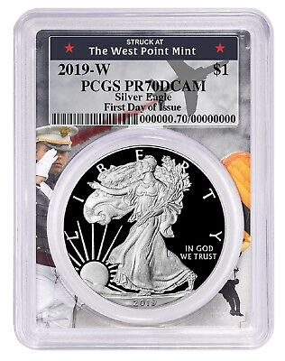 2019 W 1oz Silver Eagle Proof PCGS PR70 DCAM First Day West Point Frame