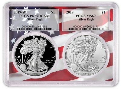 2019 1oz Silver Eagle Two Coin Set PCGS PR69 MS69 - Flag Frame