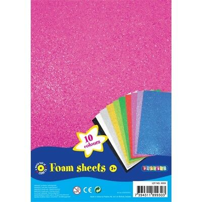 A4 10 Piece Foam Sheets Pack With 10 Colours - Playbox Pieces Art New