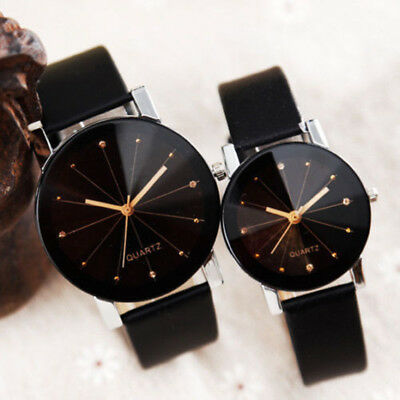 Fashion Men Women Leather Strap Couple Analog Quartz Ladies Wrist Watches Watch