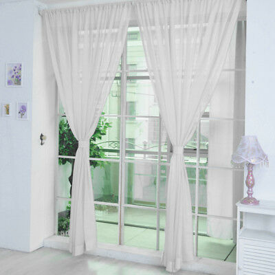 Plain Color Door Window Voile 2 Panel Rod Pocket Room Curtain Sheer