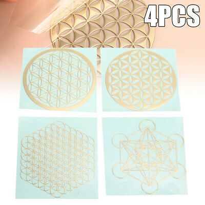 4pcs/Set New Metal Energy Decor Sticker Flower Of Life Metatrons Cube Chakras