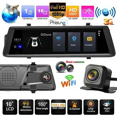 2-Lens 10'' 3G WIFI Car DVR GPS Android Car Rear View Mirror Camera ADAS Monitor