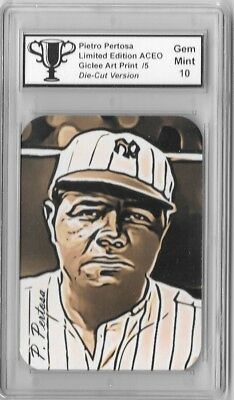 Babe Ruth Graded Artist Signed 2017 Limited ACEO Giclée Art Print Card
