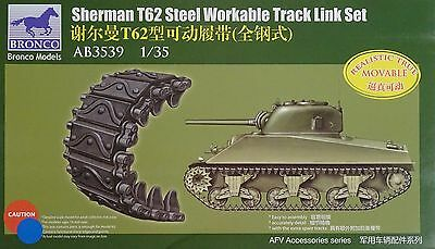 BRONCO AB3539 T62 Workable Track Links (Steel Type) for Sherman in 1:35