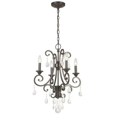 Hampton Bay 4-Light Oil Rubbed Bronze Crystal Small Chandelier