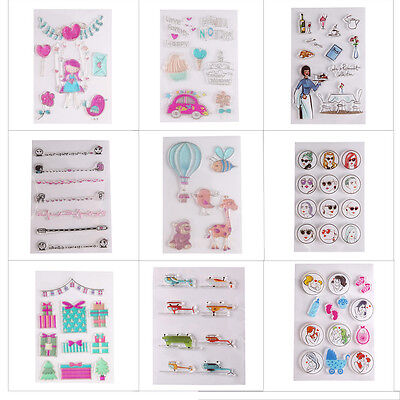 Colorful Cartoon Transparent Silicone Rubber Stamp Sheet Cling DIY Scrapbooking