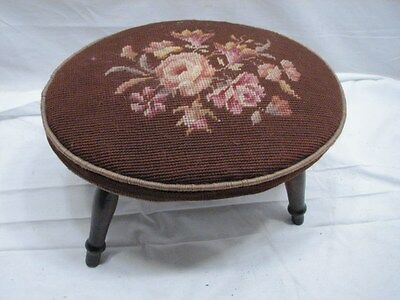 Early Oval Needlepoint Cross Stitch Top Foot Stool Bench Rest Decor Seat Floral