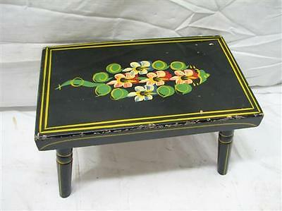 Vintage Hand Painted Wooden Foot Stool Flowers Folk Art Wood Country Decor
