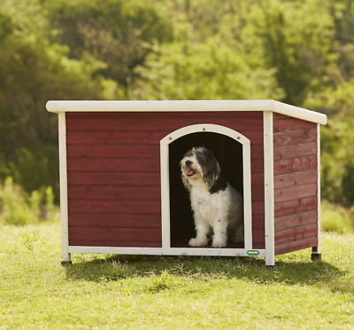 Premium Deluxe Wooden Dog Kennel Shelter Pet House Insulated with Curtain Door