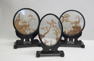 3 vintage Asian CARVED CORK SHADOW BOXES