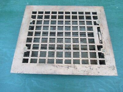 Antique VICTORIAN Cast Iron Floor Grille 13x11 Heat Grate Register with Louvers