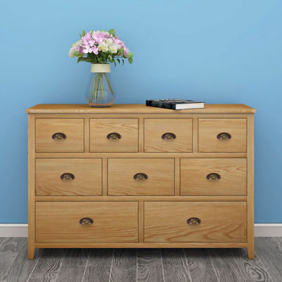 Large Solid Oak Cabinet Chest of 9 Drawers Wooden Sideboard Cupboard Furniture