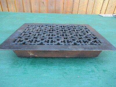 Antique VICTORIAN Cast Iron Floor Grille 16x12 Heat Grate Register with Louvers