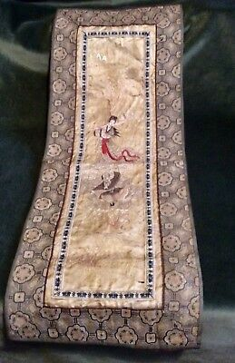 Beautiful Antique 19th Century Chinese Silk Hand Embroidered Panel.