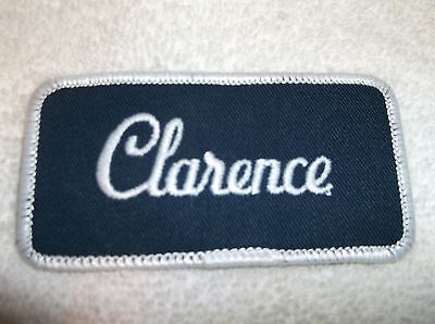 Clarence Used Embroidered Vintage Sew On Name Patch  Assorted Colors Available