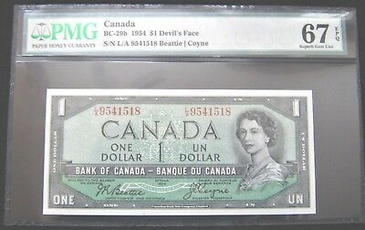 1954 Bank of Canada $1 Dollar Devils Face PMG 67EPQ Rare Perfect Gem