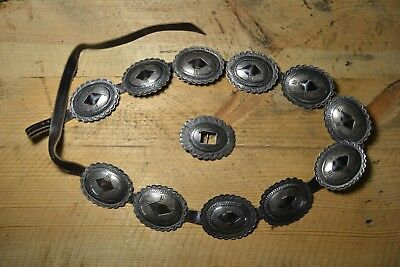 Vintage Silver Navajo Concho Belt Native American Second Phase Indian Concha