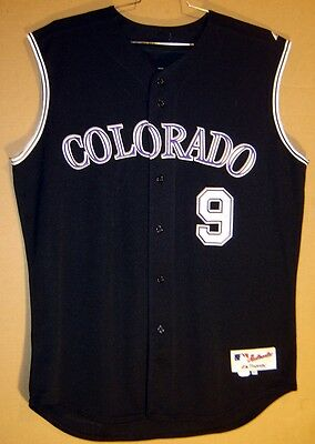 a5637077390 COLORADO ROCKIES JAMIE QUIRK Black Vest  9 GAME WORN MLB ALTERNATE JERSEY