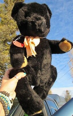 """Vintage Black 19"""" Teddy Bear Jointed Cute Made In West Germany Tag Plush Mohair"""