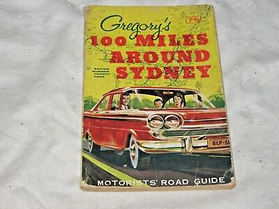 A Vintage 50/60's Gregory's 100 Miles Around Sydney Motorists Road Guide 24th Ed