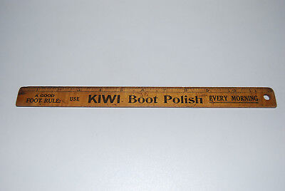 Vintage Wooden Ruler Kiwi Boot Polish Branded 1920's Advertising Product