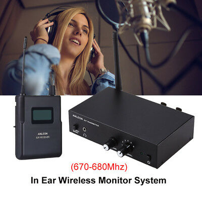 IEM In-ear Wireless UHF Stereo Monitor System LED Receiver Digital 670 - 680Mhz