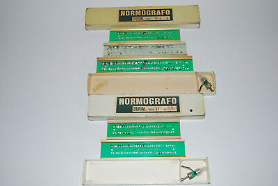 Vintage Collectable Normografo Drawing Drafting Lettering Stencil Sets Italy