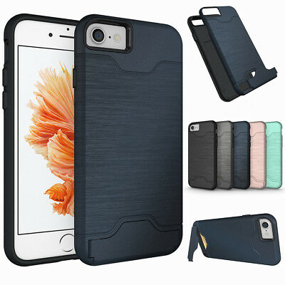 For Apple iPhone 8 7 6s 6 Plus Phone Case Kickstand Credit Card Hard Armor Cover