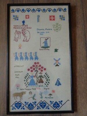 Vintage Cross Stitch Sampler - Netherlands 1965