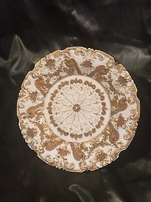 Beautiful Antique Gold Encrusted Meissen Plate