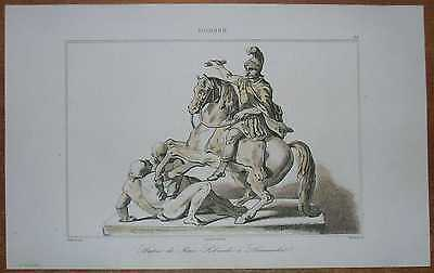 1840 print STATUE OF JAN SOBIESKI IN LAZIENKI, WARSAW, POLAND (#33)