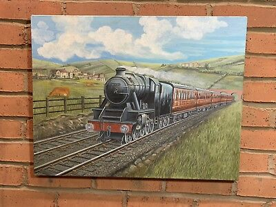80's PAINTING Of Old Steam Train & Carriages 64cm X 50cm - Unsigned