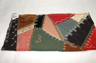 Antique Embroidered Crazy Quilt Piece Detailed Stitching Study E6