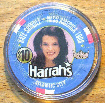 $10. Harrah's Casino Chip - Miss America - Atlantic City, New Jersey - 1998